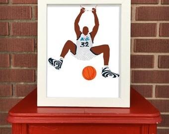 Shaquille O'Neal Reebok Shaqnosis 8x10 art, Kickstalgia digital illustration, 90s sports print, Shaq