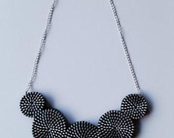 silver Zipper necklace V shaped statement