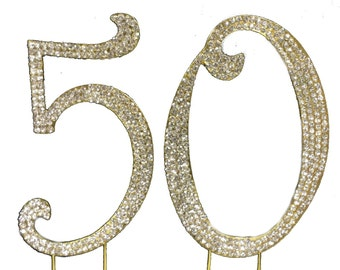 """Large Gold Plated 50th Birthday / Wedding Anniversary Number Cake Topper with Sparkling Rhinestone Crystals - 4 1/2"""" Tall - Cake Decoration"""