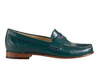 Cole Haan Monroe Penny Loafer in Teal Leather with purple detail size 10.5