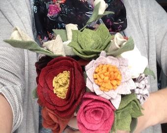 Felt flower wedding bouquet or home decor