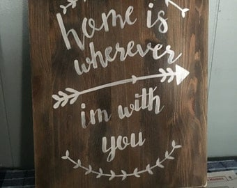 Home is wherever I'm with you rustic painting