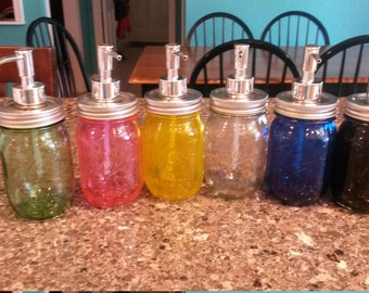 Colored Ball Jar Soap Dispensers