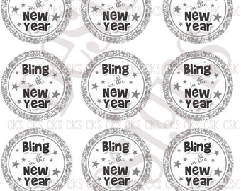"1"" Digital Bottle Cap Sheet **INSTANT DOWNLOAD** Happy New Year Bling"