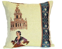 Seville Spain throw pillow – 18x18 pillow cover –  Rustic cushion cover – Art souvenir pillow  – Reversible accent chair – Indoor outdoor