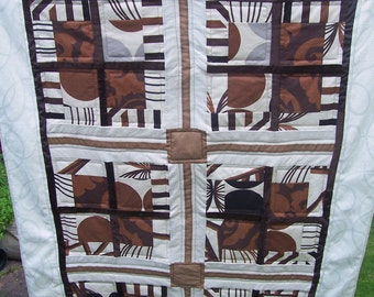 Patchwork quilt, double bed runner/single bed cover,or large lap quilt. geometrical patchwork design,brown/cream. Ready to ship, free P&P