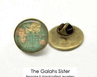 VINTAGE WORLD MAP Pin Badge. World Map Brooch. Map Jewellery. Vintage Maps.  Lapel or Tie Pin, Brooch. *Handmade in Australia* (B0125)