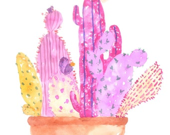 """the """"GENEVIEVE"""" - pink cactus watercolor poster print"""