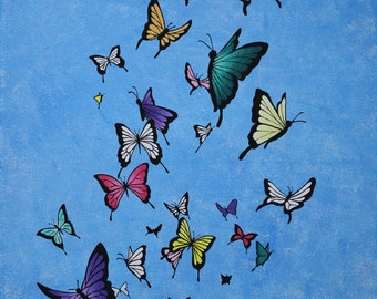 Butterflies Original Acrylic Canvas Painting