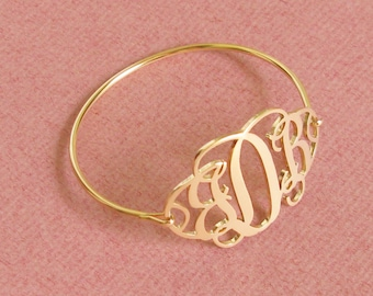 Handcrafted Name Bracelet - Monogram Bangle -  Personalized Monogram Sign - Gift For Woman - Jewelry
