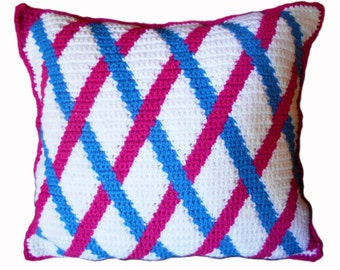 Crochet Pillow - Diagonal Cross
