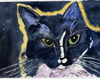 "Cat Greeting Card Note Card professionally printed from my original watercolor painting ""Aglow""