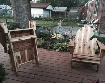 FIRST EVER FOLDING Adirondack Michigan handmade Chair Cedar Wood Rustic Furniture