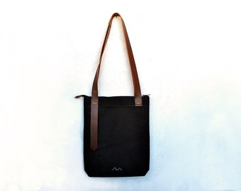 Leather tote with zipper, Black canvas bag leather straps, water resistant carry all, zipper tote bag