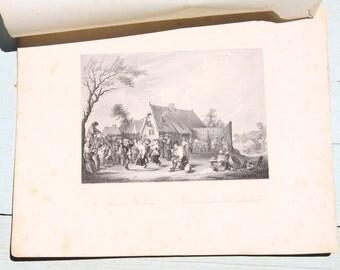 Antique Steel Etchings, ca. 1850, Rembrandt, Tenier, Berghem, Ostade, European scenes/landscapes, antique wall decoration, steel engraving