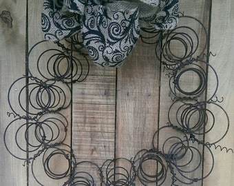 Metal Bed Spring Wreath Re-purposed Bed springs Shabby Cottage Chic Rustic