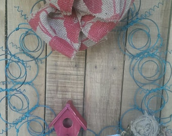 Metal  Bedspring Wreath with Burlap Roses Shabby Cottage Repurposed