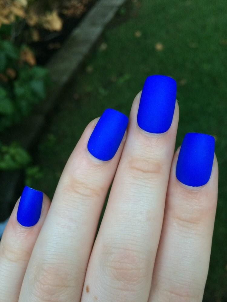 Royal Blue Fake Nails Matte Nails Matte Press On By