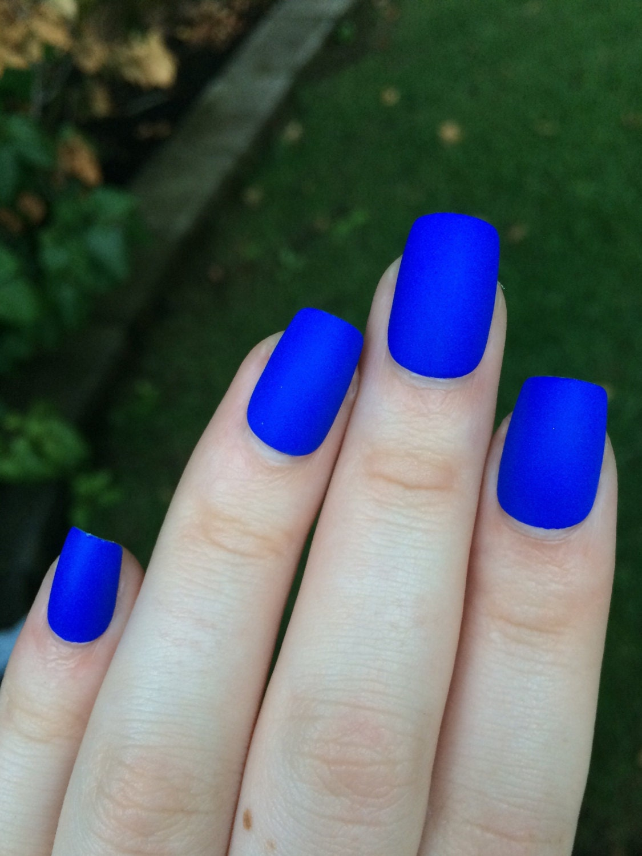 Royal blue fake nails matte nails matte press on by ...