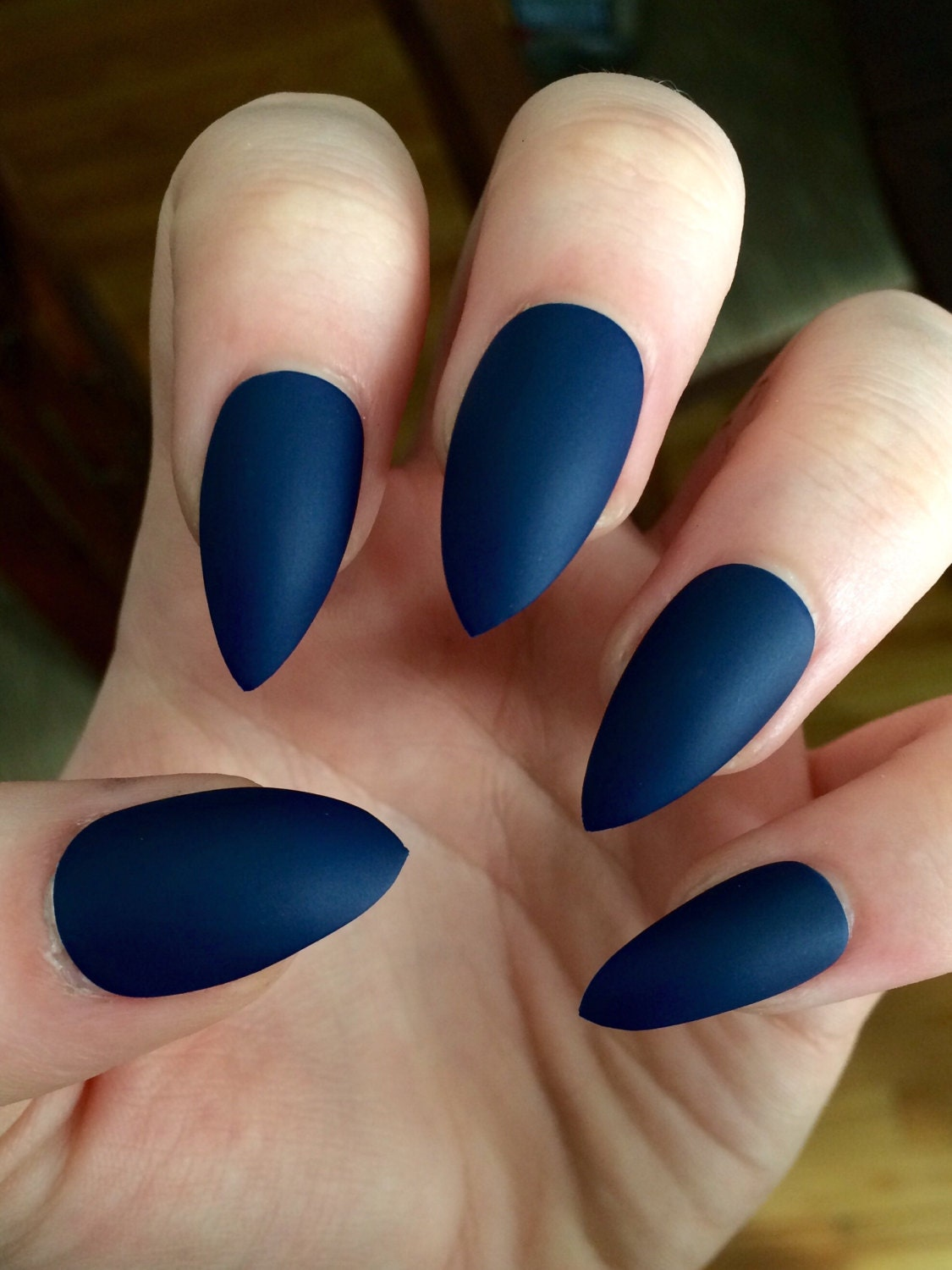matte nails, stiletto nails, navy blue, fake nails from