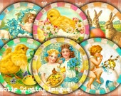 "Digital collage sheet round 2.5"" Happy Easter vintage download printable pocket mirror images paper weight making magnets cupcake toppers"
