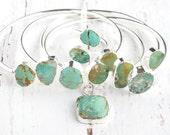 Bohemian Summer Jewelry Set-Rustic Jewelry Set-Summer Boho Gift Set-Turquoise Cuff Bracelets and Pendant Necklace-Turquiose Ring-Boho Gift