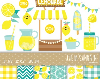Lemonade Clipart and Digital Paper Set - Instant Download - Personal and Commercial Use