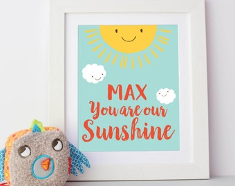 You Are My Sunshine Personalised Nursery Print Framed