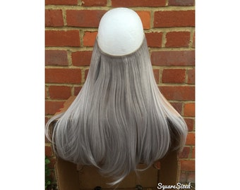 Grey hair extensions etsy halo hair extensions flip in hair layered 18 long grey gray straight synthetic pmusecretfo Gallery