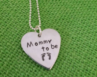 Pregnancy-Personalized mommy to be necklace,mommy to be jewelry- expecting a baby, baby shower gift, custom necklace, pregnancy