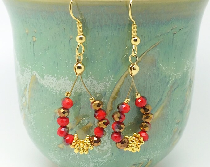 Red gold earrings, red drop earrings, bright red earrings, Red crystal earrings, red dangle