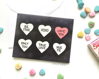 I Love You Card, Valentines Day Card, Valentines Card, Candy Hearts, Chalkboard Card, Chalk Art
