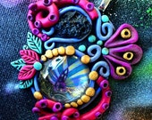 Colorful Art Pendant- Clay and Glass- Wearable Art- Tentacle Pendant- Cosmic Jewelry- Psychedelic Pendant- Trippy Necklace- Tektite Jewelry