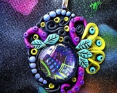 Colorful Art Pendant- Clay and Glass- Wearable Art- Tentacle Pendant- Cosmic Jewelry- Psychedelic Pendant- Trippy Necklace- Dream Pendant
