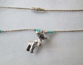 Vintage Sterling Moose Turquoise Pendant Necklace