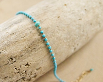 Our Dainty Sleeping Beauty Turquoise Bracelet Hand Tied in Silk/ Dainty Turquoise Bracelets/ Dainty Turquoise Summer Jewerly/ Handcrafted