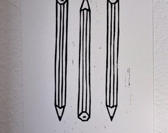 handmade pen woodcut pencil