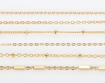 6-Kind Cable Chain Samples - Gold plated, Craft Supplies Necklace chain, Jewelry Chain, Jewelry supplies, findings  [Sampler225-PG]