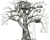 """Treehouse, tree house, whimsy, fireflies, Pen & Ink and Watercolor, """"Maggie's Tree House"""" (Reproduction)"""