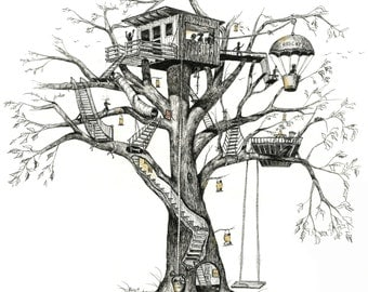 "Treehouse, tree house, whimsy, fireflies, Pen & Ink and Watercolor, ""Maggie's Tree House"" (Reproduction)"