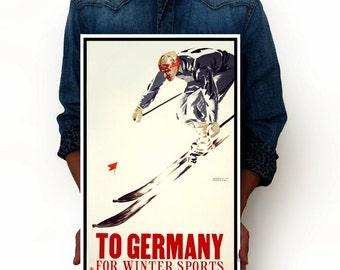 "Germany Winter Sports Skiing Vintage Poster, Vintage Poster Art Print, Germany Sports Art Posters, Minimalist Art 13"" x 19"""