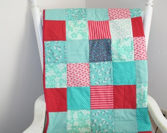 baby quilt, baby girl bedding, crib bedding, patchwork, red and aqua, red and turquoise, floral, stripes, polka dot, navy, toddler bedding