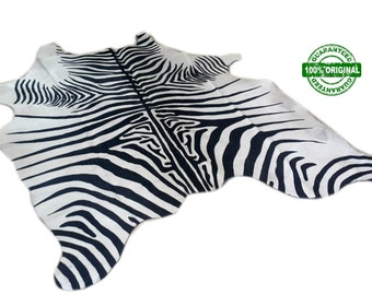 Cowhide Rug ZEBRA BLACK WHITE Unique!  a465  6.1 x 5.3 ft  Peau de Zebre  Piel de Vaca Impresa Cebra