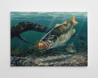 """Bass Wall Decor, Bass FIshing Canvas Art, Large Bass Painting, Fishing Canvas Wall Art, Bass Painting """"Cleaning House"""" by Randy McGovern"""