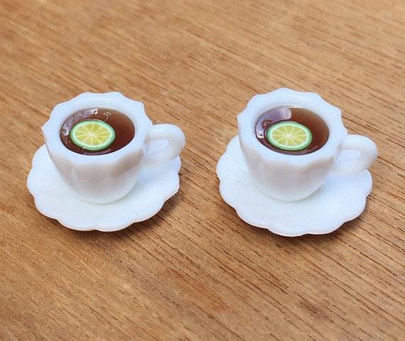 2 Sets Miniature Lemon Tea,Miniature Lemon,Miniature Coffee cup,Dollhouse Sweet,Dollhouse Lemon Tea,Miniature dollhouse tea