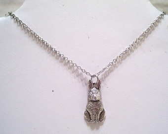 Bunny Rabbit Necklace, Antiqued Silver Bunny Pendant Necklace, Nature Necklace, Silver Rabbit Jewelry, Bunny Jewelry