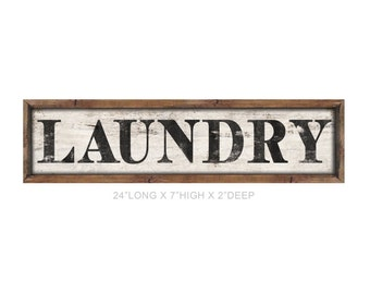 """Wooden laundry sign framed out in wood handmade 24""""x7""""x2"""" laundry room signs mudroom signs laundry room decor industrial laundry sign"""