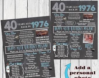 1976 40th Decor Personalized Birthday Chalkboard Sign***Digital File*** - DIY PRINTING