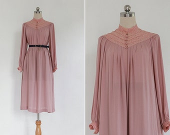 Vintage 70s Blush Pink Lace Stand Collar Dress | Japanese Vintage Pleated Lace Midi Smock Dress | Long Sleeves Sheer Dress M or L