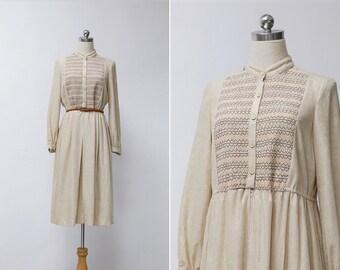 Vintage 70s Beige Rib Stand Collar Midi Dress | Japanese Vintage High Waisted Skirt Midi Dress | Long Sleeves Vintage Dress | Long Skirt S